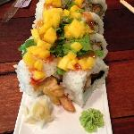 Mango and chicken sushi