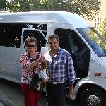 My wife Nancy and Stavros with the bottle of olive oil he so kindly gave us.
