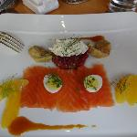 Gravlax with Orange, Artichoke, Pomegranite & Quails egg