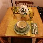 Dining room table-set before you arrive.