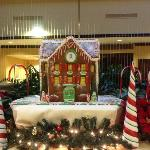 Awesome Gingerbread house in the reception area, welcoming guests in December.
