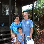 My wife & I outside our Kabin with our 2 granddaughters.