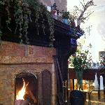 The fireplace in room 5