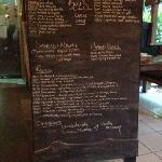 koji's handwritten menu on chalkboard