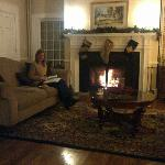 by the fire on a December evening