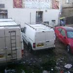 Commercial parking directley outside the window