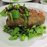 roasted cod loin with peas and bacon