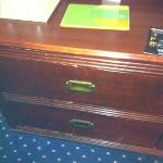 Front of the dresser in my room - very worn, dented, and chipped