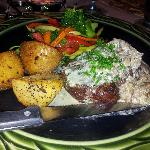 """The Beef"" evening special with roasted potatoes and side veg. Delicious."