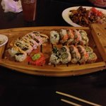 Sushi Boat, and hibachi Steak and shrimp