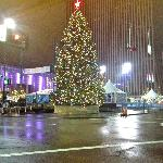 View from my table.Christmas tree at Fountain Square
