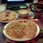 My Denver Omlette w/Sausage Gravy Side & Homemade Biscuits with a Good cup of Joe and WIFI