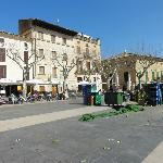 The main square in Pollenca & Hotel Juma