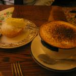 Coffe and a piping hot Soup Kitchen made mince pie with clotted cream!