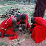 Maasai warrors make fire