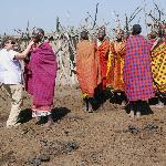  Gayle dances with Maasai women in the boma