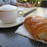 Breakfast - chocolate cresent roll & cappuccino