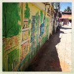  The street outside with cool graffiti
