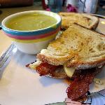 Apple, bacon and blue cheese sandwich with asparagus soup