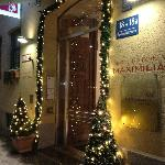  Front Door of Hotel decorated for Christmas