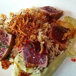Ahi Tuna over fried rice with wasabi aioli