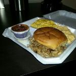  BBQ Sandwich, Mac &amp; Cheese, Jalapeno Cheese Grits