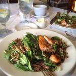 Warm salad of spinach with seared salmon and warm mushroom dressing