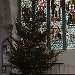  Stained glass window and Christmas tree