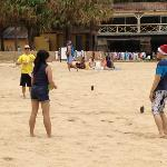 Beach Volley Ball at Christmas Time...Check out the Hats.