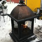  outdoor fireplace at Crepe a la Carte