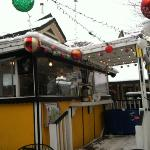 crepe stand decked out for Christmas!