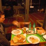 Delicious pizza evening and view in the breaksfast room