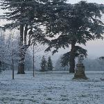 white picture world - the grounds on approach to hs in Dec
