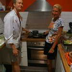 Joel and I cooking the meal.