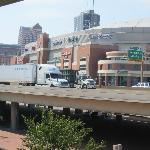 View from just outside the room - Edwards Jones Dome and heavy traffic