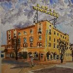  Watercolor painting of the Rendezvous and the Hotel Monte Vista.