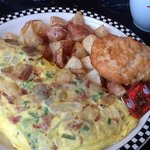 omelette, home fries, biscuit