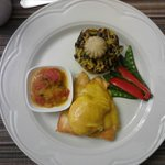 main course (breakfast) - salmon, poached egg with home-made hollandaise, 8-grain rice, tomatoes