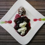 Dessert (breakfast) - French toast with blueberry & cassis reduction, tower of chocolate and ber