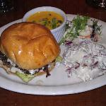 burger, potato salad, slaw and pumpkin soup
