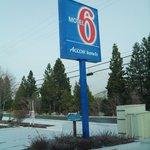 The sign of Motel 6 Weed