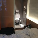  the open plan toilet right next to bed
