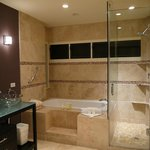 Upstairs bathroom, no way to adjust the pressure on the shower head, no jacuzzi jets in tub.