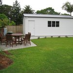  BBQ area, lawn and garage