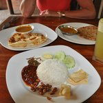 Malay breakfast - Nasi Lemak, Roti Canai and Chapati