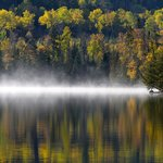  Morning mist across the lake from the cabin
