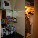  Ironing board, mini bar, coffee maker