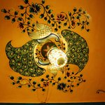 One example of the Rajasthani painting, on a ceiling at the rooftop cafe