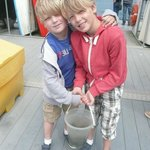  The children having caught the prize crabs!