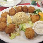 Deep Fried Scallops, with rice.